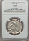 Walking Liberty Half Dollars: , 1929-S 50C MS62 NGC. NGC Census: (53/455). PCGS Population(49/637). Mintage: 1,902,000. Numismedia Wsl. Price for problem ...