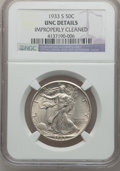 Walking Liberty Half Dollars: , 1933-S 50C -- Improperly Cleaned -- NGC Details. Unc. NGC Census:(1/559). PCGS Population (3/951). Mintage: 1,786,000. Num...