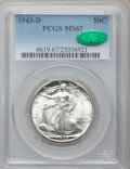 Walking Liberty Half Dollars: , 1943-D 50C MS67 PCGS. CAC. PCGS Population (261/2). NGC Census:(302/4). Mintage: 11,346,000. Numismedia Wsl. Price for pro...