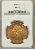 Liberty Double Eagles: , 1894-S $20 MS62 NGC. NGC Census: (1786/626). PCGS Population(1480/847). Mintage: 1,048,550. Numismedia Wsl. Price for prob...