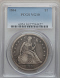 Seated Dollars: , 1864 $1 VG10 PCGS. PCGS Population (6/138). NGC Census: (0/73).Mintage: 30,700. Numismedia Wsl. Price for problem free NGC...