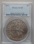 Seated Dollars: , 1871 $1 XF45 PCGS. PCGS Population (139/416). NGC Census: (79/366).Mintage: 1,074,760. Numismedia Wsl. Price for problem f...