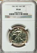 "Proof Walking Liberty Half Dollars, 1941 50C No ""AW"" PR64 NGC. NGC Census: (561/2274). PCGS Population(1118/2689). Mintage: 15,412. Numismedia Wsl. Price for ..."