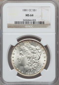 Morgan Dollars: , 1881-CC $1 MS64 NGC. NGC Census: (3346/3033). PCGS Population(7037/5857). Mintage: 296,000. Numismedia Wsl. Price for prob...