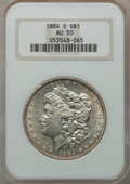 Morgan Dollars: , 1884-S $1 AU50 NGC. NGC Census: (826/4404). PCGS Population(1053/3493). Mintage: 3,200,000. Numismedia Wsl. Price for prob...