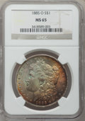 Morgan Dollars: , 1885-O $1 MS65 NGC. NGC Census: (26193/4887). PCGS Population(17601/2463). Mintage: 9,185,000. Numismedia Wsl. Price for p...