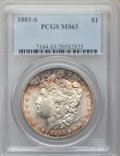 Morgan Dollars: , 1885-S $1 MS63 PCGS. PCGS Population (2816/2706). NGC Census:(1557/1653). Mintage: 1,497,000. Numismedia Wsl. Price for pr...
