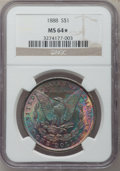 Morgan Dollars: , 1888 $1 MS64 ★ NGC. NGC Census: (18271/6660). PCGS Population(13553/3931). Mintage: 19,183,8...