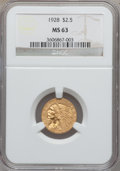 Indian Quarter Eagles: , 1928 $2 1/2 MS63 NGC. NGC Census: (4341/3093). PCGS Population(2814/1790). Mintage: 416,000. Numismedia Wsl. Price for pro...