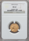 Indian Quarter Eagles: , 1925-D $2 1/2 MS62 NGC. NGC Census: (6242/8941). PCGS Population(3525/5948). Mintage: 578,000. Numismedia Wsl. Price for p...