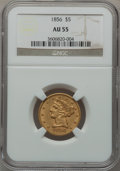 Liberty Half Eagles: , 1856 $5 AU55 NGC. NGC Census: (63/141). PCGS Population (36/63).Mintage: 197,990. Numismedia Wsl. Price for problem free N...