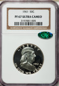 Proof Franklin Half Dollars: , 1961 50C PR67 Ultra Cameo NGC. CAC. NGC Census: (123/71). PCGSPopulation (113/82). Numismedia Wsl. Price for problem free...