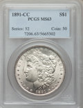 Morgan Dollars: , 1891-CC $1 MS63 PCGS. PCGS Population (4676/3701). NGC Census:(2405/1786). Mintage: 1,618,000. Numismedia Wsl. Price for p...