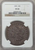 Morgan Dollars: , 1893 $1 VF25 NGC. NGC Census: (50/3664). PCGS Population (56/5572).Mintage: 389,792. Numismedia Wsl. Price for problem fre...