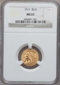 Indian Quarter Eagles: , 1911 $2 1/2 MS63 NGC. NGC Census: (1811/1443). PCGS Population(1159/794). Mintage: 704,000. Numismedia Wsl. Price for prob...