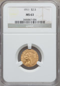 Indian Quarter Eagles: , 1911 $2 1/2 MS63 NGC. NGC Census: (1806/1442). PCGS Population(1159/794). Mintage: 704,000. Numismedia Wsl. Price for prob...