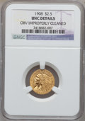 Indian Quarter Eagles, 1908 $2 1/2 -- Obverse Improperly Cleaned -- NGC Details. Unc. NGCCensus: (69/7577). PCGS Population (68/4960). Mintage: 5...