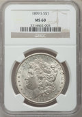 Morgan Dollars: , 1899-S $1 MS60 NGC. NGC Census: (16/1882). PCGS Population(32/3429). Mintage: 2,562,000. Numismedia Wsl. Price for problem...