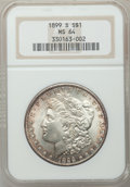 Morgan Dollars: , 1899-S $1 MS64 NGC. NGC Census: (653/191). PCGS Population(1250/507). Mintage: 2,562,000. Numismedia Wsl. Price for proble...