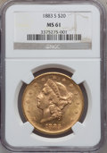 Liberty Double Eagles: , 1883-S $20 MS61 NGC. NGC Census: (704/491). PCGS Population(473/899). Mintage: 1,189,000. Numismedia Wsl. Price for proble...