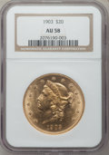Liberty Double Eagles: , 1903 $20 AU58 NGC. NGC Census: (34/11851). PCGS Population (76/9682). Mintage: 287,200. Numismedia Wsl. Price for problem f...