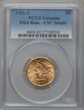 Liberty Half Eagles: , 1901-S $5 -- Rim Filed -- PCGS Genuine. Unc Details. NGC Census:(140/6102). PCGS Population (224/4739). Mintage: 3,648,000...