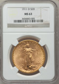 Saint-Gaudens Double Eagles: , 1911-D $20 MS63 NGC. NGC Census: (2851/5922). PCGS Population(2629/5760). Mintage: 846,500. Numismedia Wsl. Price for prob...