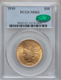 Indian Eagles: , 1910 $10 MS63 PCGS. CAC. PCGS Population (998/345). NGC Census:(1030/580). Mintage: 318,500. Numismedia Wsl. Price for pro...