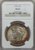 Peace Dollars: , 1923 $1 MS63 NGC. NGC Census: (82863/169412). PCGS Population(70494/92414). Mintage: 30,800,000. Numismedia Wsl. Price for...