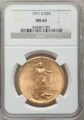 Saint-Gaudens Double Eagles: , 1911-D $20 MS64 NGC. NGC Census: (3490/2426). PCGS Population(3450/2310). Mintage: 846,500. Numismedia Wsl. Price for prob...