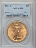Saint-Gaudens Double Eagles: , 1914-D $20 MS64 PCGS. PCGS Population (2261/1042). NGC Census:(1914/587). Mintage: 453,000. Numismedia Wsl. Price for prob...