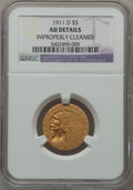 Indian Half Eagles: , 1911-D $5 -- Improperly Cleaned -- NGC Details. AU. NGC Census:(71/1116). PCGS Population (103/419). Mintage: 72,500. Numi...