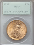 Saint-Gaudens Double Eagles: , 1922 $20 MS64 PCGS. PCGS Population (7296/1249). NGC Census:(7608/488). Mintage: 1,375,500. Numismedia Wsl. Price for prob...