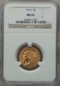 Indian Half Eagles: , 1913 $5 MS62 NGC. NGC Census: (4328/1597). PCGS Population(2816/1996). Mintage: 915,900. Numismedia Wsl. Price for problem...