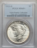 Peace Dollars: , 1923-D $1 MS65+ PCGS. PCGS Population (408/78). NGC Census:(236/23). Mintage: 6,811,000. Numismedia Wsl. Price for problem...
