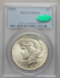 Peace Dollars: , 1925 $1 MS66 PCGS. CAC. PCGS Population (1499/85). NGC Census:(1766/67). Mintage: 10,198,000. Numismedia Wsl. Price for pr...