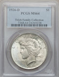 Peace Dollars: , 1926-D $1 MS64 PCGS. PCGS Population (1560/850). NGC Census:(995/594). Mintage: 2,348,700. Numismedia Wsl. Price for probl...