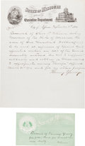 Autographs:Celebrities, [James-Younger Gang]. Fair Copy of a Flourney Yancey ExpenseReceipt....