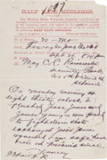 Autographs:Celebrities, [James-Younger Gang]. Detective Flourney Yancey Telegram to C. C.Rainwater....
