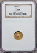 Gold Dollars: , 1857 G$1 AU55 NGC. NGC Census: (75/1030). PCGS Population(132/552). Mintage: 774,789. Numismedia Wsl. Price for problemfr...
