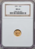Gold Dollars: , 1851 G$1 MS61 NGC. NGC Census: (868/2426). PCGS Population(249/1436). Mintage: 3,317,671. Numismedia Wsl. Price for proble...
