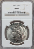 Peace Dollars: , 1927-S $1 MS62 NGC. NGC Census: (568/2120). PCGS Population(922/3242). Mintage: 866,000. Numismedia Wsl. Price for problem...