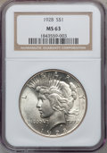 Peace Dollars: , 1928 $1 MS63 NGC. NGC Census: (1367/1033). PCGS Population(2175/2000). Mintage: 360,649. Numismedia Wsl. Price for problem...