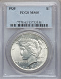 Peace Dollars: , 1935 $1 MS65 PCGS. PCGS Population (767/172). NGC Census: (726/77).Mintage: 1,576,000. Numismedia Wsl. Price for problem f...