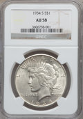 Peace Dollars: , 1934-S $1 AU58 NGC. NGC Census: (376/1152). PCGS Population(381/1942). Mintage: 1,011,000. Numismedia Wsl. Price for probl...
