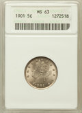 Liberty Nickels: , 1901 5C MS63 ANACS. NGC Census: (134/463). PCGS Population(193/535). Mintage: 26,480,212. Numismedia Wsl. Price for proble...