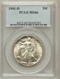 Walking Liberty Half Dollars: , 1941-D 50C MS66 PCGS. PCGS Population (1520/165). NGC Census:(1174/177). Mintage: 11,248,400. Numismedia Wsl. Price for pr...