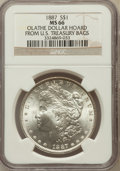 Morgan Dollars: , 1887 $1 MS66 NGC. Olathe Dollar Hoard From U.S. Treasury Bags. NGC Census: (3686/314). PCGS Population (1420/79). Mintage: ...
