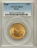 Indian Eagles: , 1908 $10 Motto MS63 PCGS. PCGS Population (742/319). NGC Census:(464/301). Mintage: 341,300. Numismedia Wsl. Price for pro...