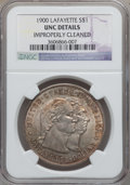Commemorative Silver: , 1900 $1 Lafayette Dollar -- Improperly Cleaned -- NGC Details. Unc.NGC Census: (21/2142). PCGS Population (61/2604). Minta...